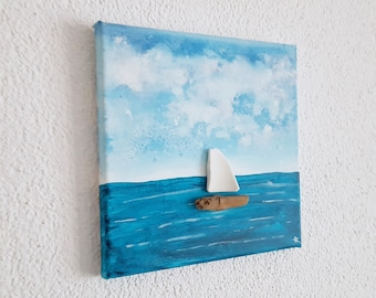 the sailing ship - acrylic pictures - collage with ceramic, driftwood & acrylic paint, sea view with sailboat