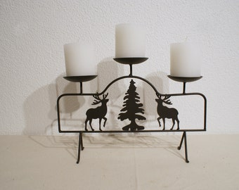 Candle holder with deer & Christmas tree