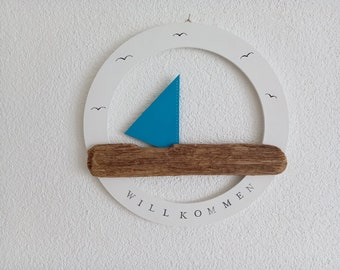 Door ring Welcome sign, driftwood with sail