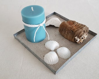 Decorative box Zinc - candle, driftwood and mussels in the Baltic Sea sand