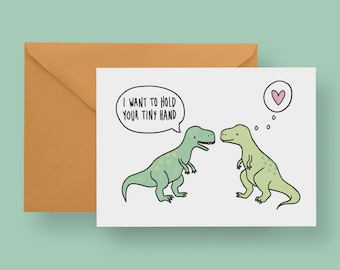 I Want To Hold Your Tiny Hand Card T Rex Valentines