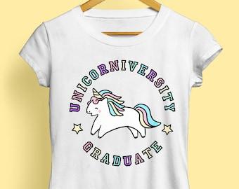 Unicorniversity Graduate T-Shirt - Ladies Unicorn T-Shirt, Unicorn Tshirt, Unicorn Tee, Funny Tshirt, Cute T Shirt, Unicorn Gift, Kawaii
