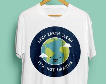 Keep Earth Clean, Unisex T-Shirt - Cute T-Shirt, Vegan Tshirt, Environmental Tshirt, Environment, Nature Tshirt, Geek, Nerd, S M L XL XXL