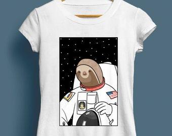 Slothstronaut, Ladies Sloth T-Shirt - Cute T-shirt, Illustrated Tshirt, Gift For Her, Funny Tshirt, Animal Tshirt, Space, S M L XL XXL