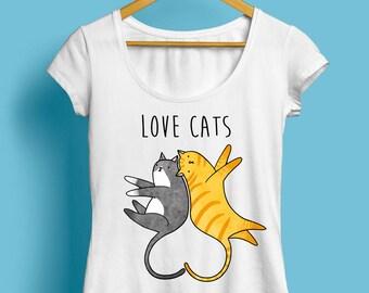 Love Cats T-Shirt, Womens Cat T-Shirt - Cute Illustrated T-Shirt, Cute Cat, Cute Cats, Gift For Her, Kitten T-Shirt, Available S M L XL XXL