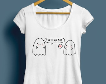 You're My Boo T-Shirt, Womens Ghost T-Shirt - Cute Illustrated T-Shirt, Gift For Her, Funny T-Shirt, Tee, Cute Gift, Available S M L XL XXL