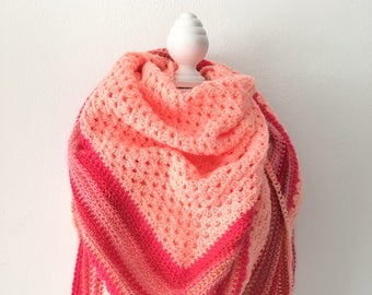 Crochet shawl salmon and pink
