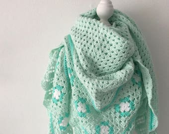 Handmade Crochet shawl mint green