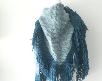 Crochet shawl Blue
