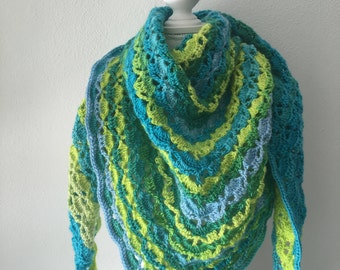 crochet shawl green, blue and turqoise