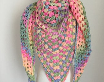 Handmade Crochet shawl Rainbow colors