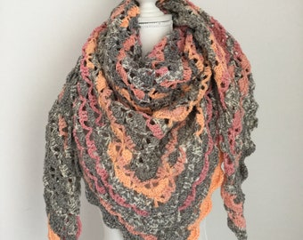 Crochet shawl orange, gray and white