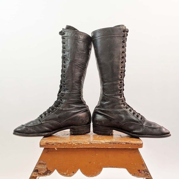 Vintage 1920s-30s Lace Up Boots Approx Sz 6.5-7 US
