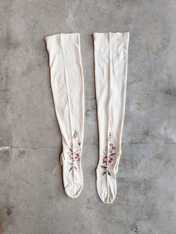 Antique Embroidered Stockings | Victorian Edwardi… - image 3