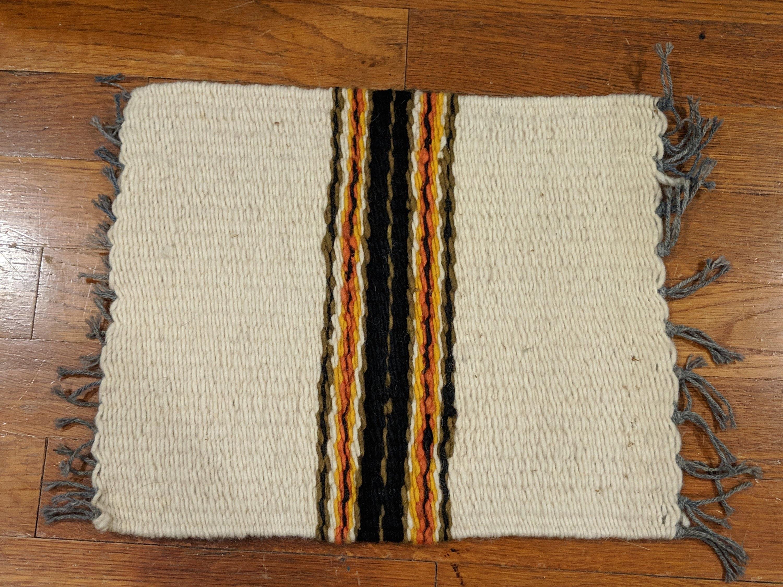 Small Woven Wool Rug Mat Southwestern Home Decor Beige Brown Orange Black Altar Cloth Vintage Textile