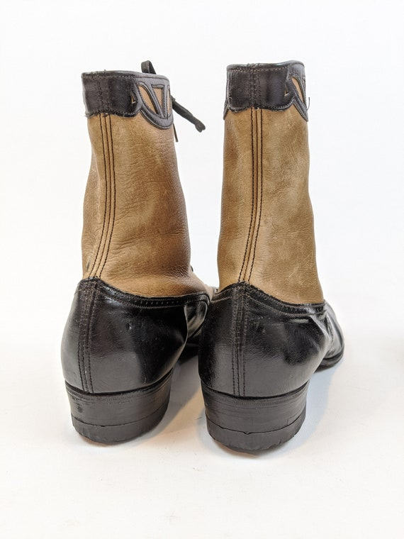 Vintage 1930s Lace Up Brown and Black Boots Appro… - image 6