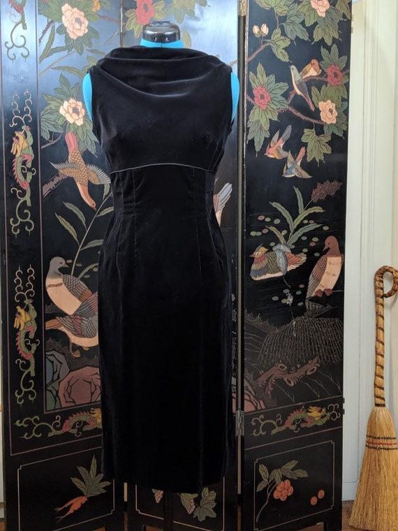 Black Velvet Dress | 1960s Party Dress LBD Cocktai