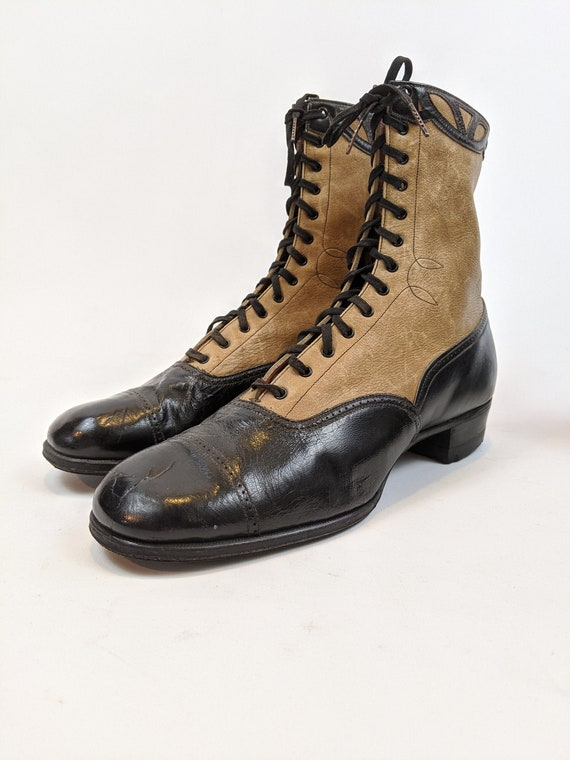 Vintage 1930s Lace Up Brown and Black Boots Appro… - image 1