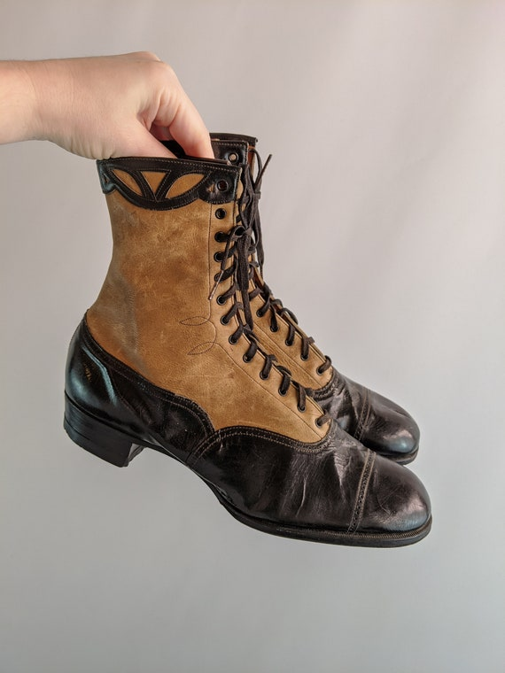 Vintage 1930s Lace Up Brown and Black Boots Appro… - image 7