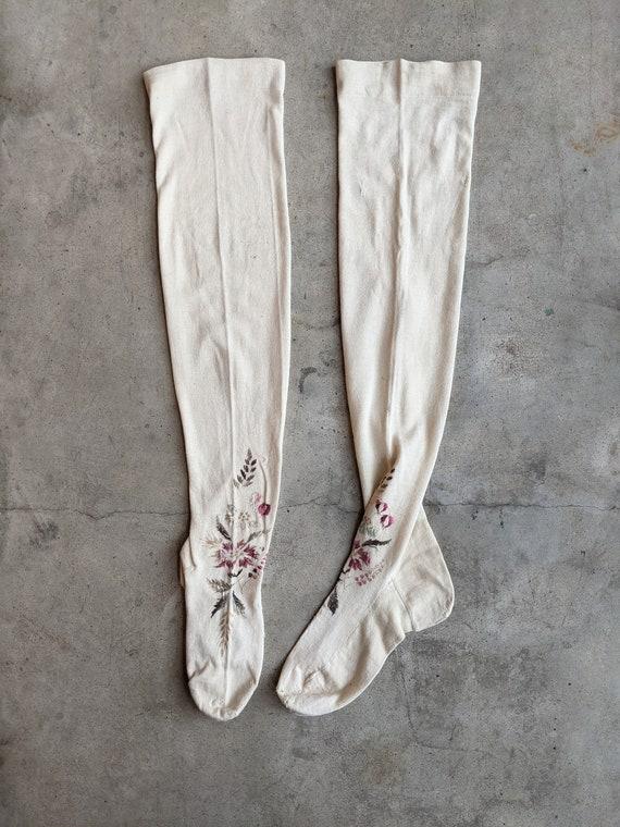 Antique Embroidered Stockings | Victorian Edwardi… - image 2