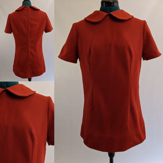 Burnt Orange 1960s Mod Mini Dress with Peter Pan … - image 1