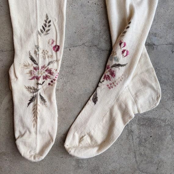 Antique Embroidered Stockings | Victorian Edwardi… - image 1