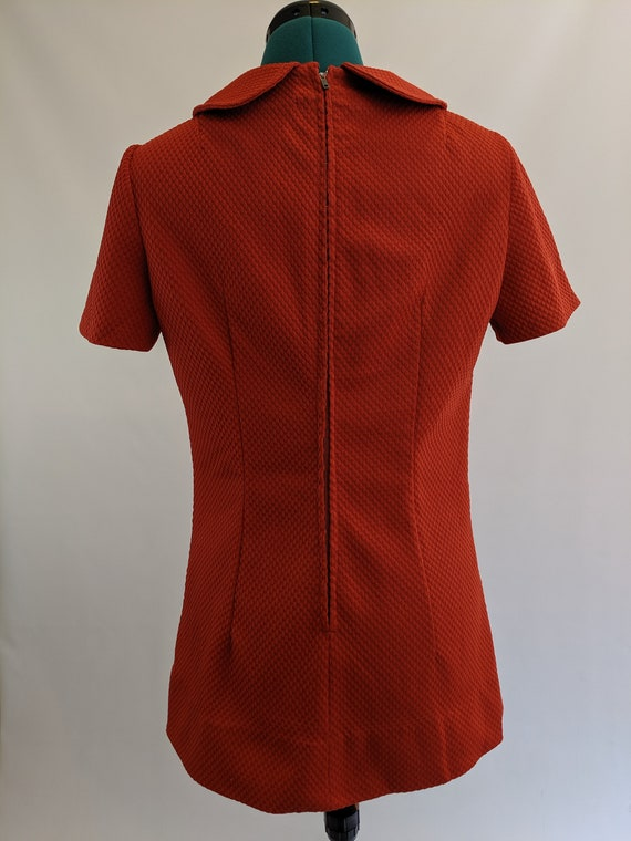 Burnt Orange 1960s Mod Mini Dress with Peter Pan … - image 3