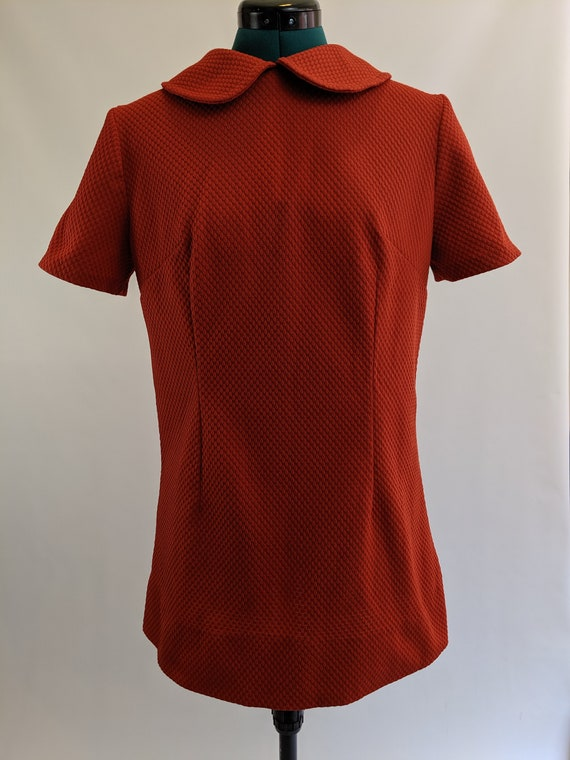 Burnt Orange 1960s Mod Mini Dress with Peter Pan … - image 2