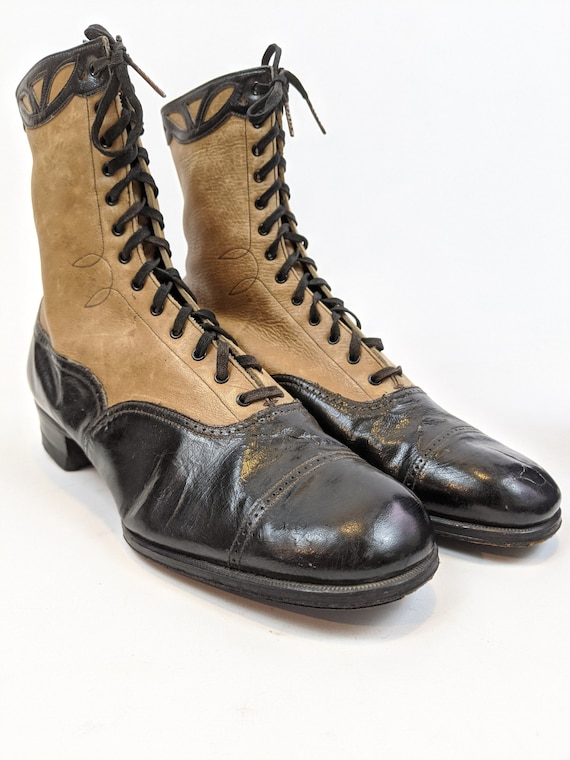 Vintage 1930s Lace Up Brown and Black Boots Appro… - image 2