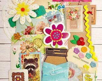 Vintage Floral/Spring Ephemera/Flower Scrap Pack/Pastel Embellishments40+ pieces!!