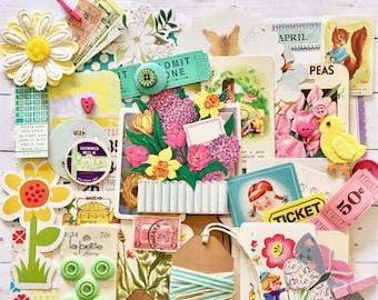 Vintage Spring Ephemera/Flower Scrap Pack/50+ pieces