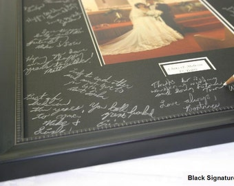11x14 Signature Mat WITH Frame. Silver, Gold, White and Black. Personalized for your wedding or event. top selling items - 10608
