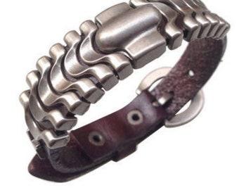 Biker Punk Boho Goth Genuine Handmade Brown Leather Link Adjustable Bracelet Unisex  Steampunk Cuff
