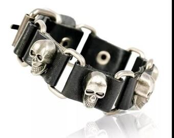 Biker Punk Boho Goth Genuine Handmade Brown or Black Leather Skull Link Men's Adjustable Bracelet Free Shipping