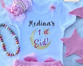 0277e7409 Islamic Girl Clothes, Girl's First Eid Outfit, Muslim Baby Clothes,  Personalized Eid Gifts, Eid Gifts, Eid Clothes, Eid Decorations.