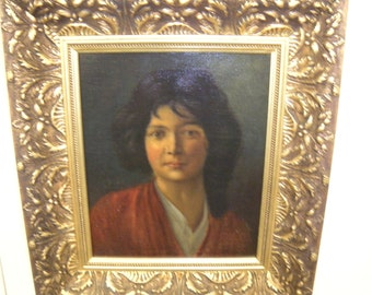 Antique Oil Painting Women in Red Shawl