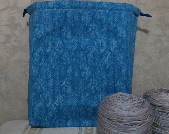 Blue Leaves: Large Drawstring Project bag
