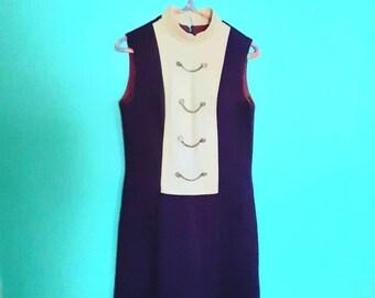 Mod 60s Mini Dress Orange Blue Plaid Vintage Handmade Women\u2019s size Small