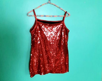 SAMPLE SALE Size Small Shiny Red Cropped Tank Top metallic costume cosplay mystique spandex crop top sleeveless
