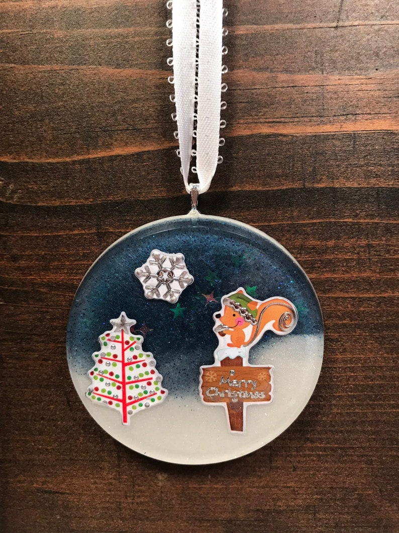 Fox Christmas Ornament  Resin Ornament  Merry Christmas image 0