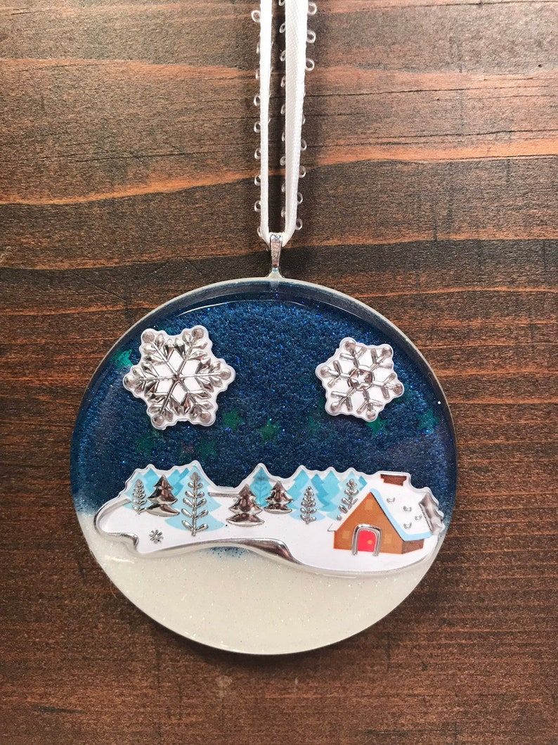 Snowy Night Christmas Ornament  Resin Ornament image 0