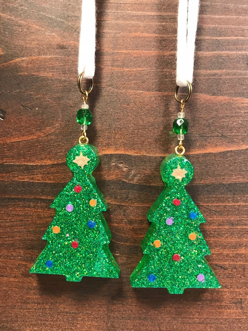 Christmas Tree Shaped Ornaments  Set of 2  Resin Ornaments image 0