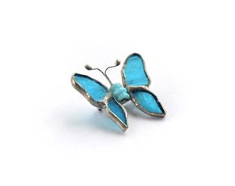 Sky blue butterfly stained glass brooch jewellery