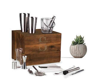 19 Piece Portable Cocktail Bar Set, Cocktail Shaker Set, Home Bar Decor, Midcentury Barware, Personalized Gift for Him, Wedding Gifts
