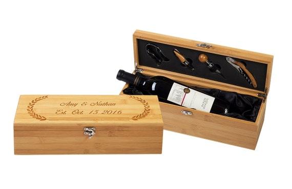 bo te vin personnalis cadeaux dentreprise cadeaux vin etsy. Black Bedroom Furniture Sets. Home Design Ideas