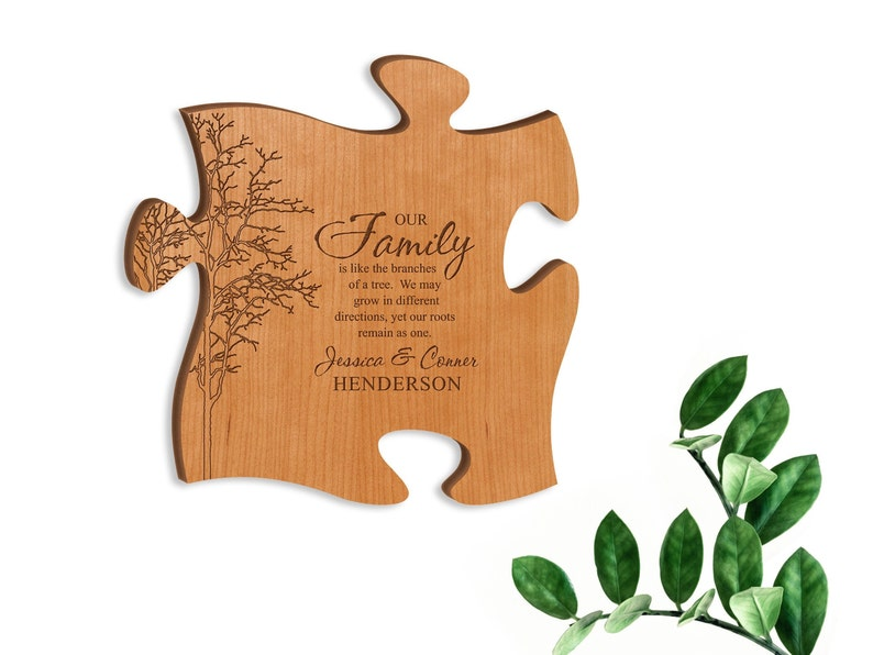 Unique Gift Puzzle Piece Jigsaw Cherry Plaque Sign Engagement Top and Left