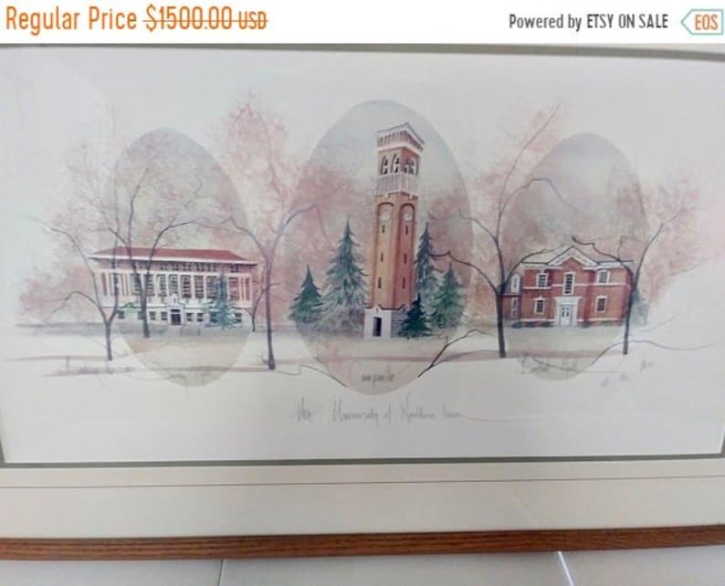 021b235e7d415 On Sale Rare P. Buckley Moss Print, University of Northern Iowa,  #1544/2000, Framed Deluxe UNI Print, Campanile, Bartlett Hall, Seerley Hall