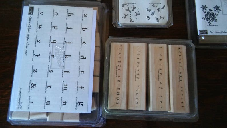 Lot Rubber Stamps Petite Patterns Simple Sayings Background Basics On Sale Alphabet Lace Snowflakes Unused Stampin Up Scrapbooking