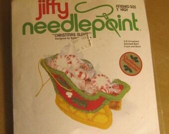 "On Sale, Jiffy Needlepoint, Christmas Sleigh, 3"" High, 3-D Ornament, Needlepoint Kit, #5040, Sunset Designs, Ornament Kit, Vintage & NEW"