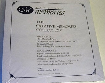 On Sale, Creative Memories, Original 12x12 Scrapbook Refill Pages - RCM-12S, 30 Pages/15 Sheets, Retired and Sealed!
